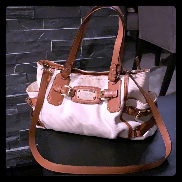 MK canvas and leather shoulder bag